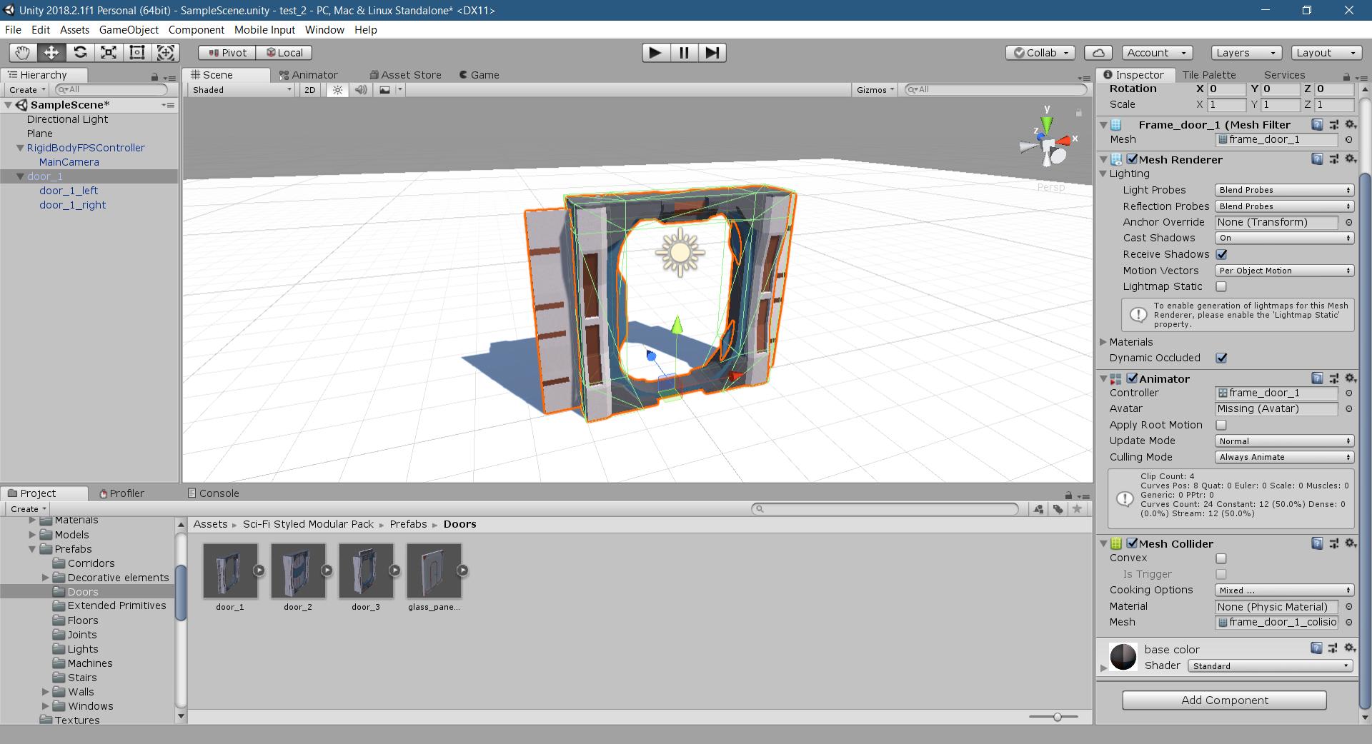 Unity Editor with door