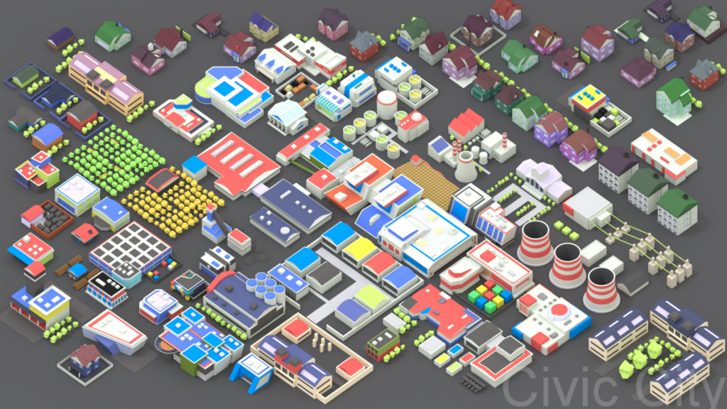 Lowpoly Modern City Buildings Set